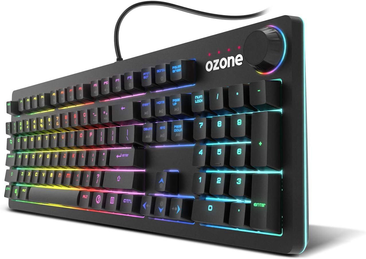 Teclado Gaming Ozone Strikeback - Teclado Mecanico - Switches Mecánicos Kail Red, Iluminacion LED RGB Spectra, 18 Modos de Illuminación, Modo Gaming, ...