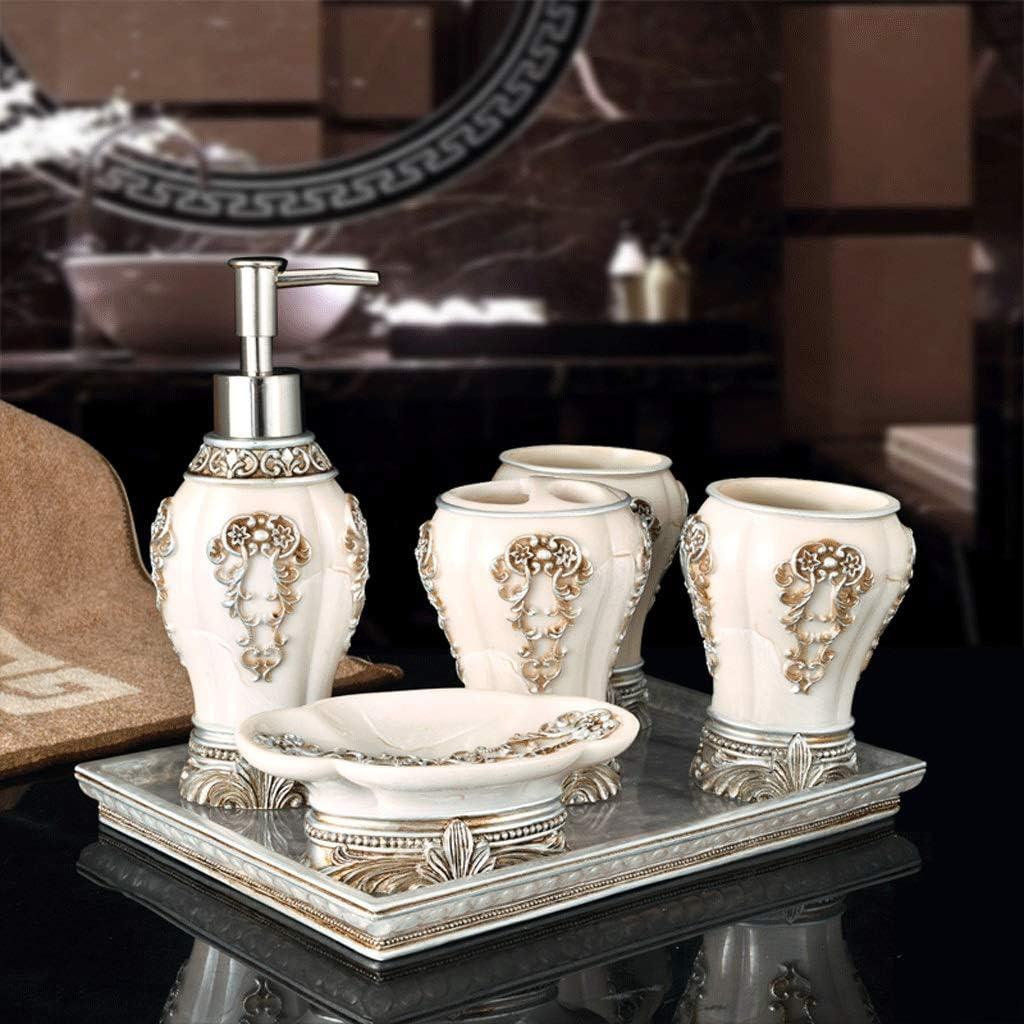 Ensemble daccessoires de salle de bains de qualit Accessoires de salle de bains en r/ésine tridimensionnelle de luxe europ/éen Set de distributeur de savon porte brosse /à dents Wash Set Accueil h/ôtel
