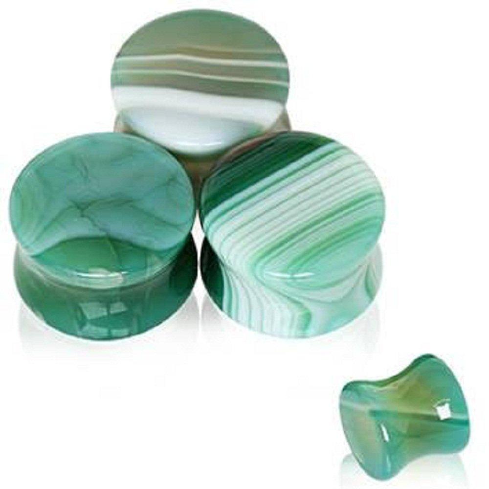 Natural Green Agate Stone Saddle WildKlass Plug