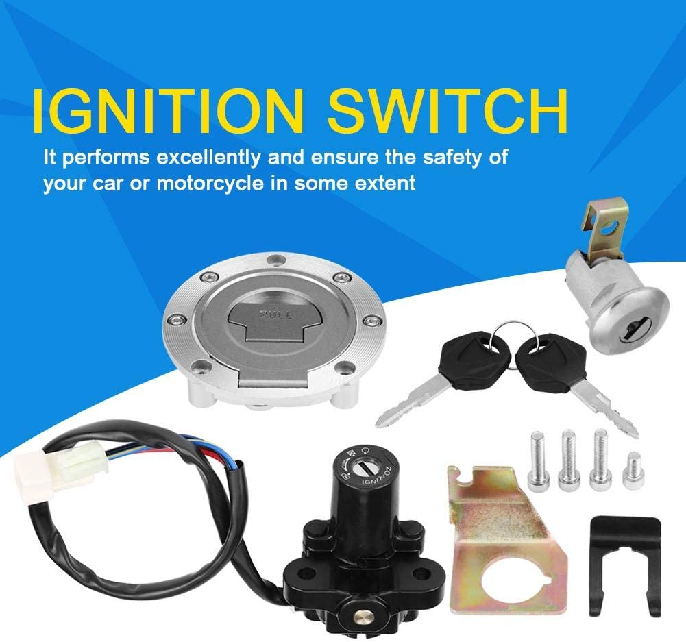 Hlyjoon Moto Ignition Switch Set 15643 Fuel Gas Cap Ignition Switch Seat Lock with Key Kit Fit for YZF R1 2001-2007 R6 2008-2012 R6S 2004 2006-2009 FZ6 FZ1