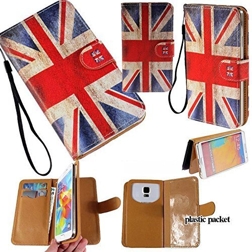 Universal PU Leather Strap Case/Purse/Clutch Fits Apple Samsung LG etc. Britain Ireland Union Jack Flag -Medium. Magic Sticker Attaches Phone to Wallet. Strong Adhesive/Easy Remove. Fits Models Below:]()