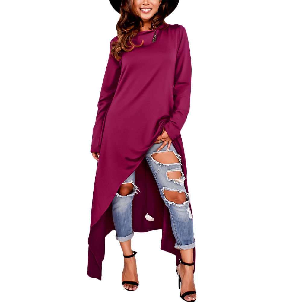 Women's Hoodie Dress Plain Double Slit Irregular Hem Long Sleeve Sweatshirts Dress Purple XXL