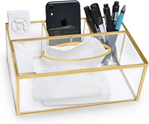 Supkiir Tissue Box Cover Rectangular with Remote Control Holder Pen Holder Clear Organizer for Home Office