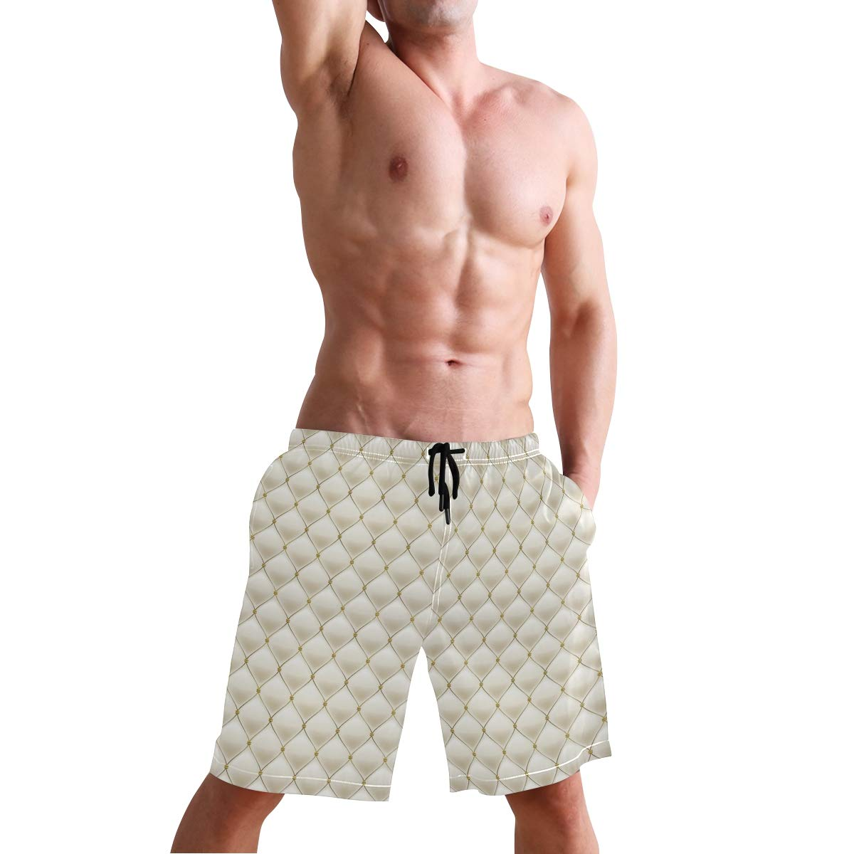 COVASA Mens Summer ShortsSoft Color Palette with Abstract Geometric Design Ant