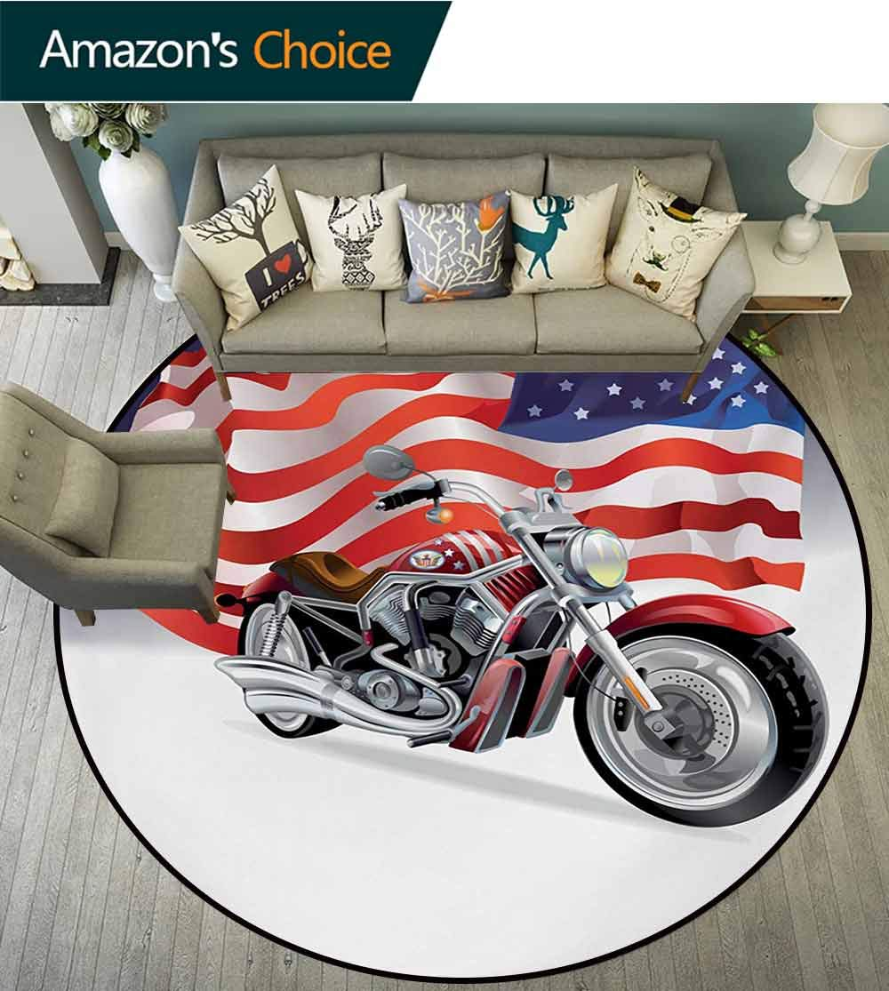 RUGSMAT Manly Carpet Gray Round Area Rug,Motorbike and Us Flag Sports Automobile Shows Motorcyclist Powerful Vehicles Passion Pattern Floor Seat Pad Home Decorative Indoor,Diameter-71 Inch