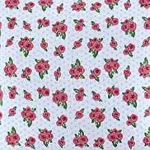 Homescapes Pure Cotton Furnishing Fabric - Roses and Dots - 150 cm Wide - Thick Yarn Dyed Woven - for Upholstery Curtain Cushion Soft Furnishings Heavy Dress Material - Per Metre by Homescapes