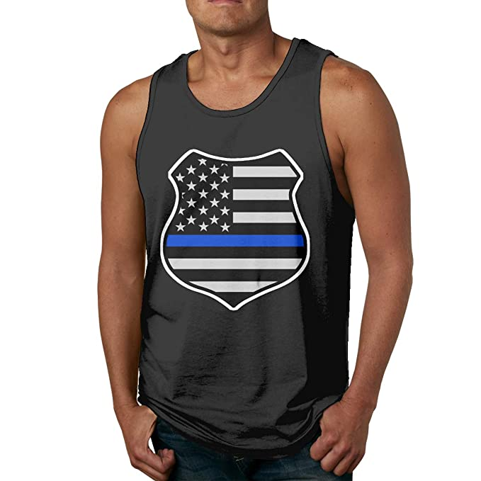 73abaf38361ce8 Thin Blue LINE American Flag Shield Men s Tank Top Jersey Tank Shirt at  Amazon Men s Clothing store