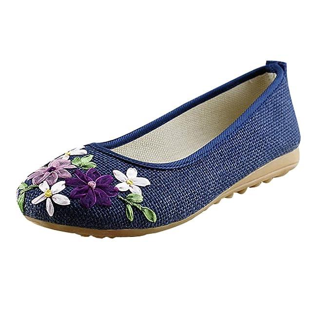 Minetom Mujer Loafers Vintage Estilo Casual Mary Jane Mocasines Moda Flor Zapatos Redondos Planos Zapatillas: Amazon.es: Ropa y accesorios