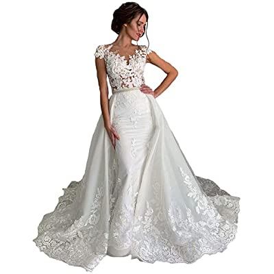 Meganbridal Women's Mermaid Lace Appliques Detachable Long Train Wedding Brides Dresses with Beaded Sash: Clothing