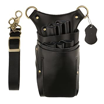 MonkeyJack PU Leather Hair Scissor Holster Hairdressing Hair Cutting Bag  Pouch Holder with Waist Shoulder Belt , Black, as described