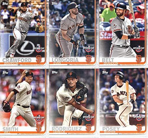 2019 Topps Opening Day Baseball San Francisco Giants Team Set of 6 Cards: Buster Posey(#105), Dereck Rodriguez(#118), Will Smith(#163), Brandon Belt(#169), Evan Longoria(#187), Brandon Crawford(#199)