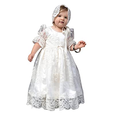 Aorme Long Lace Bonnet Christening Gowns For Girls With Buttons Half Sleeves