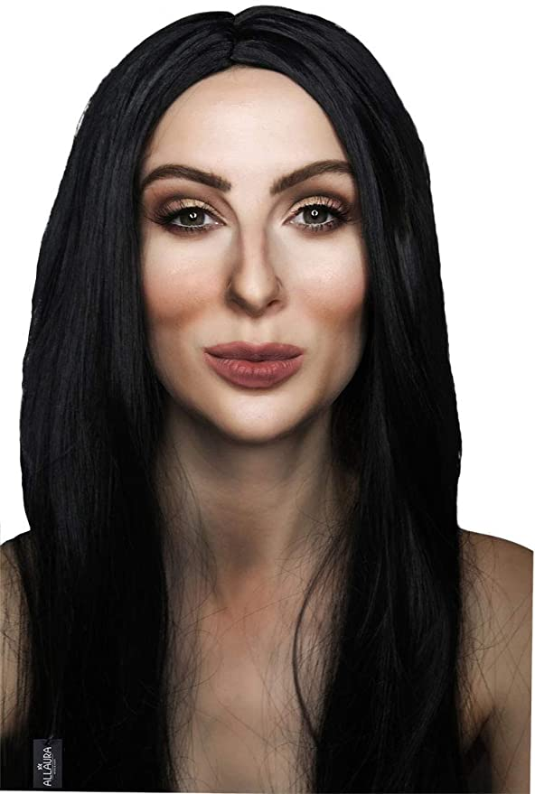 70s Headbands, Wigs, Hair Accessories ALLAURA 70s Cher Long Black Straight Wig Women Witch Morticia Costume Halloween Wigs $19.89 AT vintagedancer.com