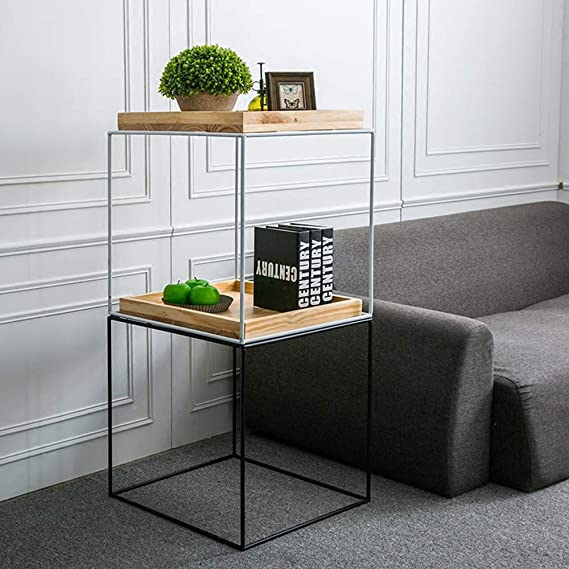Amazon.com: XIAOYAN End Table Solid Wood + Iron Coffee Table ...