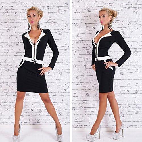 VU*LK Damenbekleidung, Kleider, Langarm schwarz / weiß Mosaik