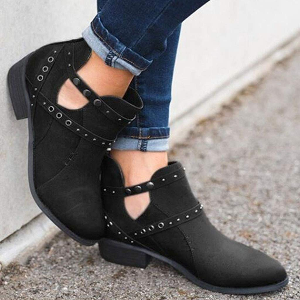 Women Ankle Boots Winter,Women Suqare Heels Zipper Rivets Short Boot Solid Color Hollow Single Shoes Amiley
