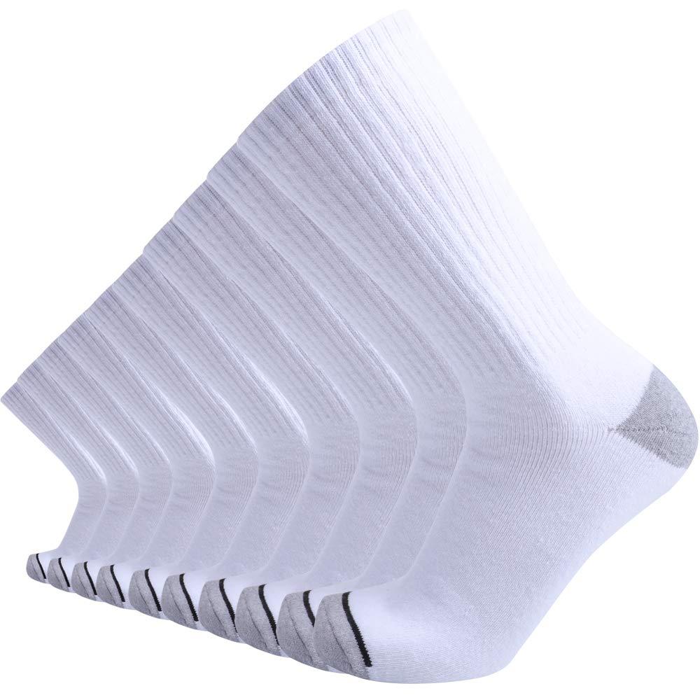 Enerwear 10P Pack Men's Cotton Moisture Wicking Extra Heavy Cushion Crew Socks (10-13/shoe size 6-12, White) by Enerwear