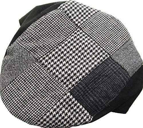 311 Hat Mens Cabbie Newsboy and Ascot Plaid Ivy Button Hat Cap Black Color Large//X-Large Size