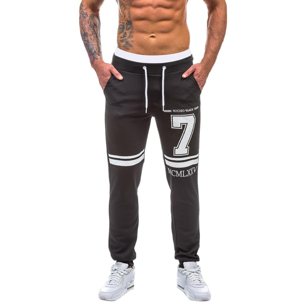 Men Pants Daoroka Men's Casual Star Print Patchwork Jogging Running Trousers with Pocket Baggy Slim Sportwear (2XL, Black 2)