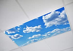 Cloud 001 Fluorescent Light Filters 2'x4' - High Pixel Light Covers for Classroom, Office, Hospital, and Building, Decorative Ceiling, Bright Replacement, Transform Your Lighting to Inspire