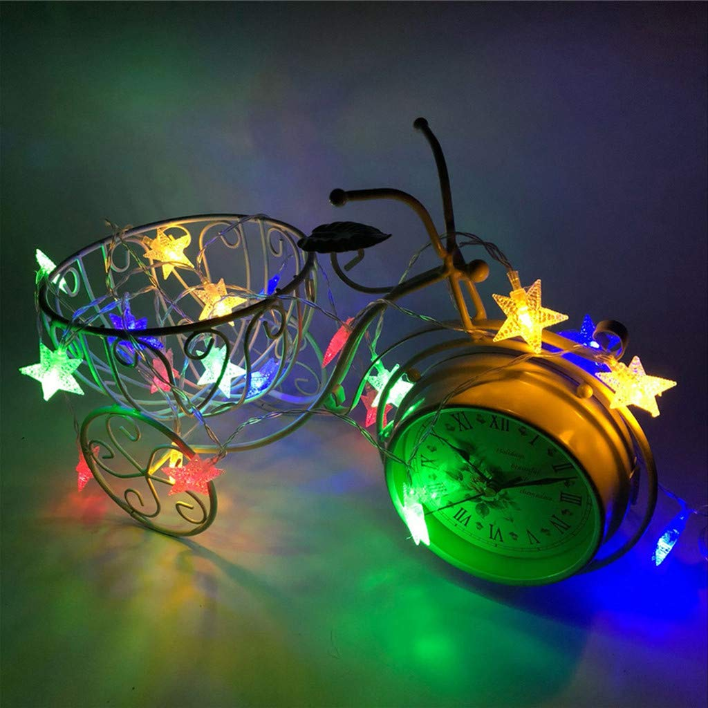 Nesee Star Curtain String Lights, 4M 40 LED Crystal Clear Star Fairy String Light Xmas Wedding Party Outdoor Decor Lamp (Multicolor)