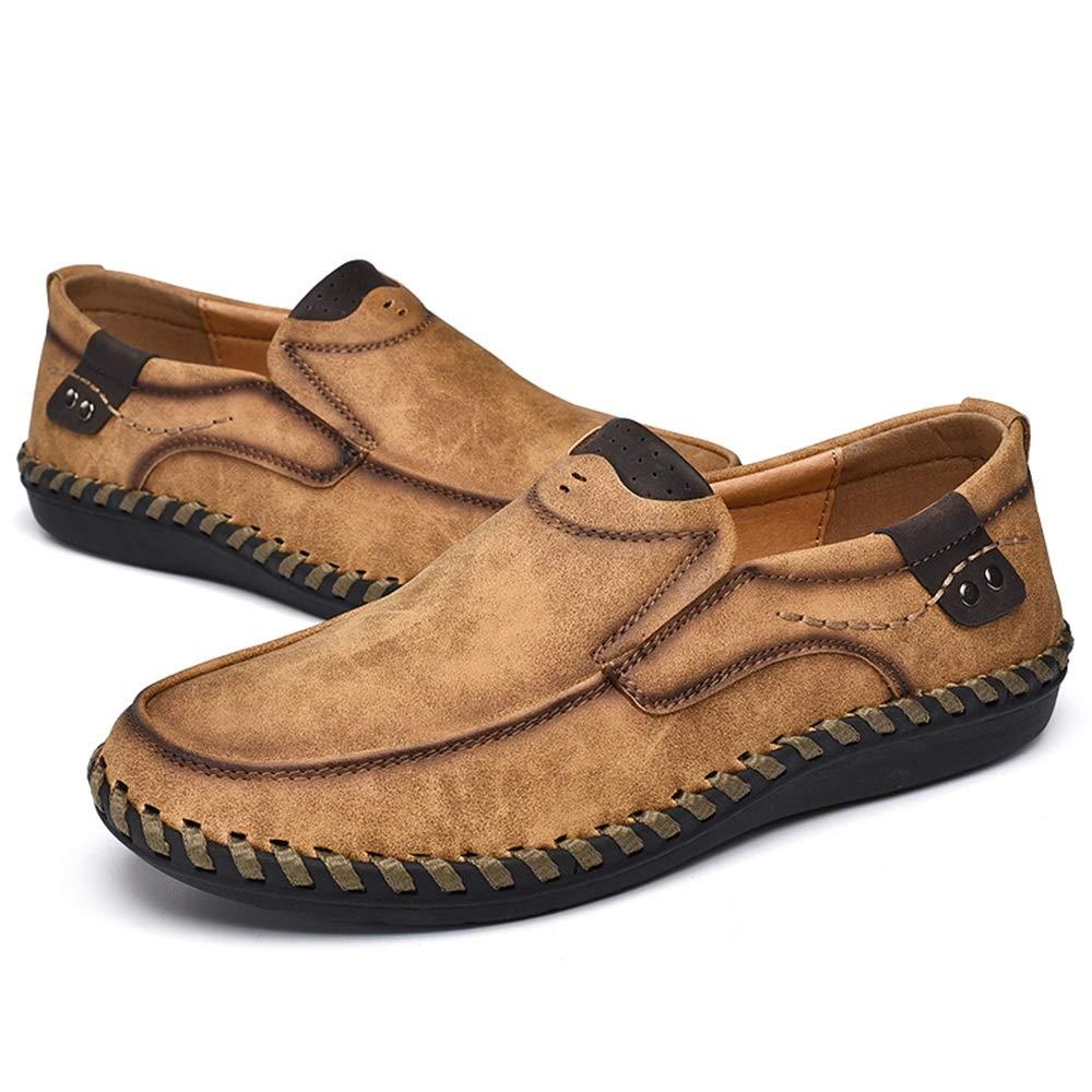 mocasines for hombres Microfibra de cuero transpirables antideslizantes ligeros hechos a mano con forro planos casuales sin cordones Zapatos de moda de cuero suave y c/ómodo para hombr C/ómodos