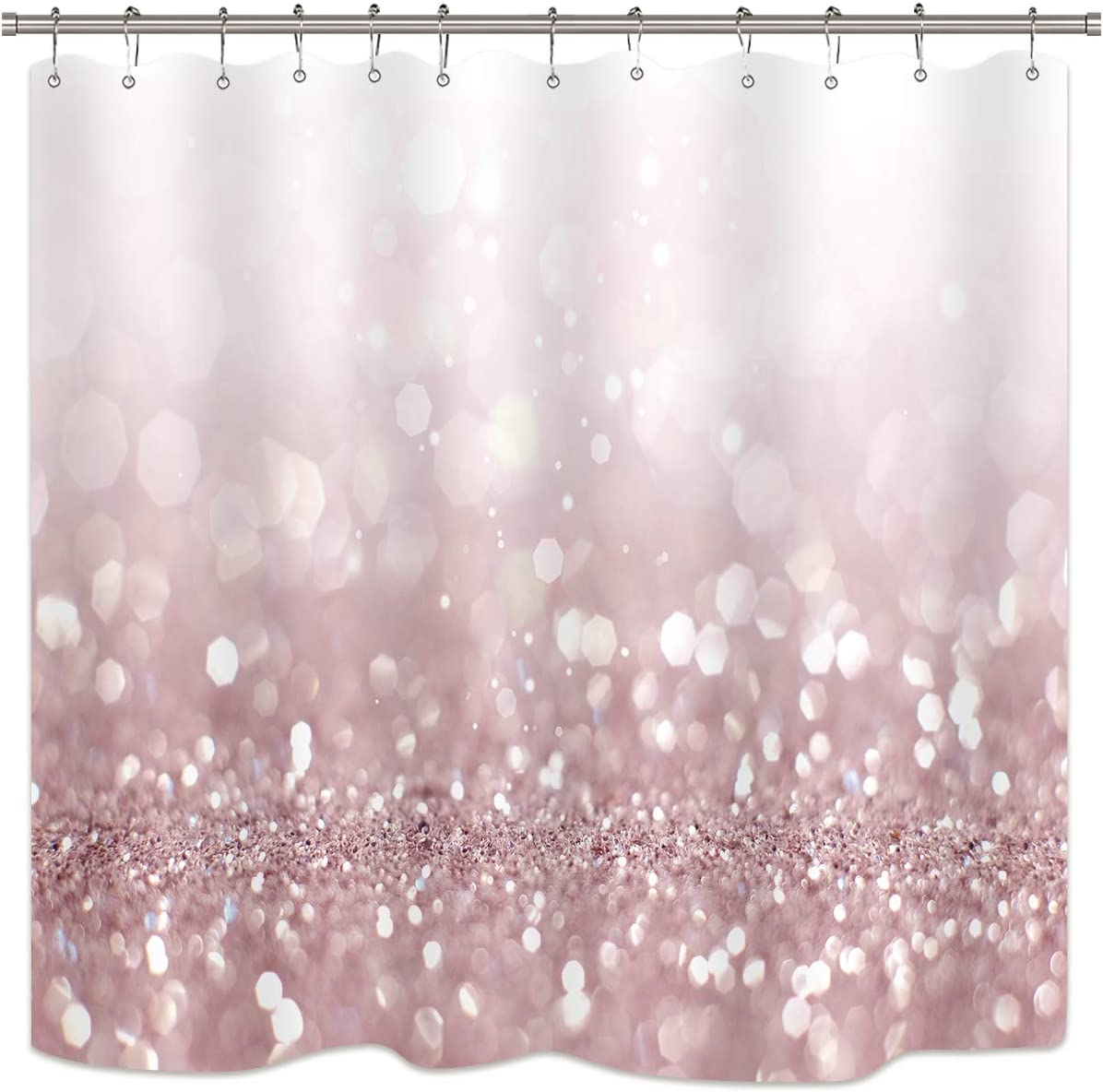 Riyidecor Pink Glitter Shower Curtain Girl Rose Gold Bling(No Glitter) Shining Sparkling Waterproof Bathroom Home Decor Set Party Decorations 72Wx72H Inch 12 Plastic Hooks