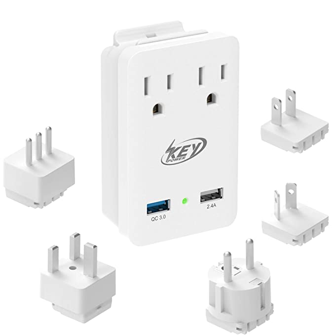 Key Power 2000W International Travel Adapter Kit, Quick Charge 3.0 USB & Two AC Outlets
