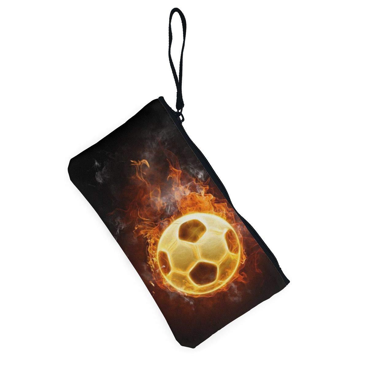 YUANSHAN Fire Soccer Unisex Canvas Coin Purse Change Cash Bag Zipper Small Purse Wallets with Handle