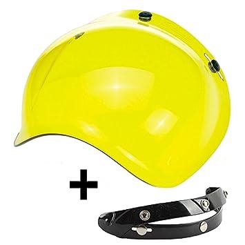 Visera Bubble 3 botones abatible amarillo oro universal para casco jet compatible con cascos Biltwell Bell