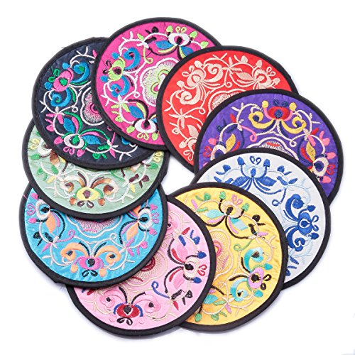 FUNLAVIE Embroidery Satin Silk Coaster Cup Mat Pad Cushion Drinks Tea Cup  Bowl Holder Tableware Placemat Chinese Style 6pcs