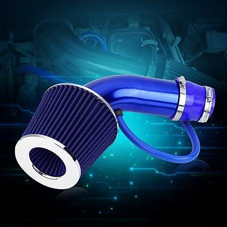 Blue fiber Cold Air Intake Filter Aluminum Induction Hose Pipe Kit Black Carbon Fiber//Red//Blue optional 76mm 3 Inch Universal Car Aluminum Alloy