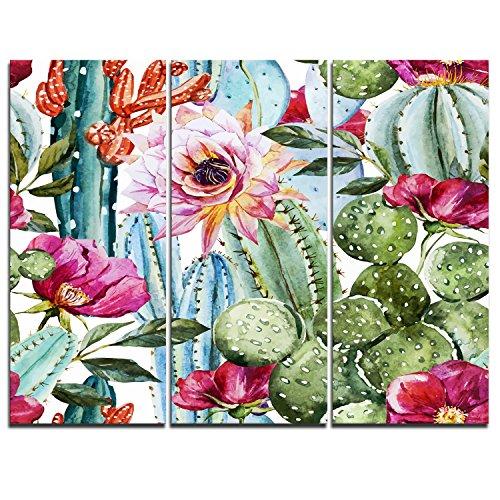 Design Art PT7856-36-28-3P Cactus Pattern WatercolorFloral Digital Art Canvas Print, 36x28-3 Panels