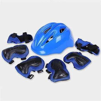 QZ HOME Niños Bicicleta Casco Equipo De Protección Scooter Patinaje Ejercicio Rodilleras Carro De Bebé Accesorios (Color : Azul, Tamaño : Metro): Amazon.es: ...