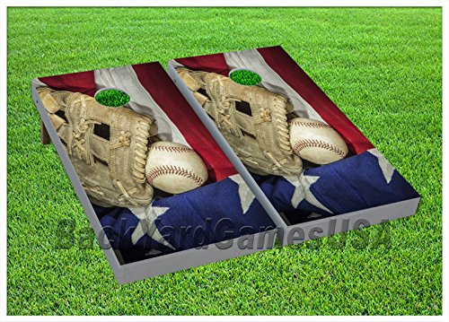 - Baseball CORNHOLE BEANBAG TOSS GAME w Bags Game Boards Patriotic US Flag Set 775