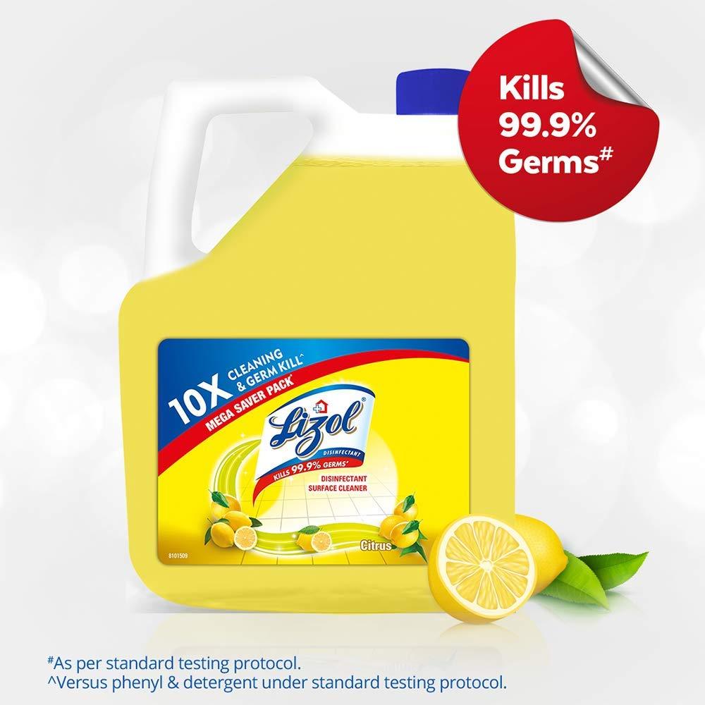Lizol Disinfectant Surface & Floor Cleaner, Citrus - 5 L