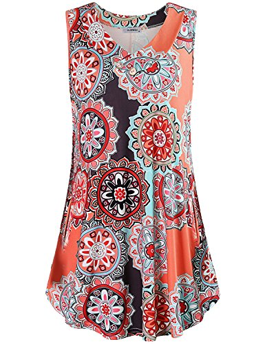 (Tank Dresses for Women, Ladies Dresses Classy V Neck with Buttons Vintage Designer Sleeveless Boho Floral Print Swing Summer Casual Sundress with Pockets Flower Print Orange M)