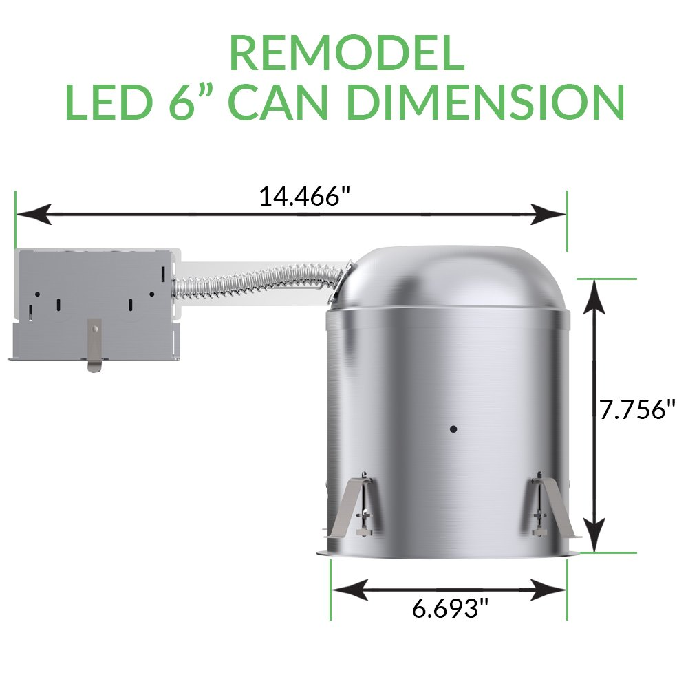 Sunco Lighting 6 PACK - 6'' inch Remodel LED Can Air Tight IC Housing LED Recessed Lighting- UL Listed and Title 24 Certified, TP24 by Sunco Lighting (Image #5)