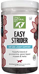 Only Natural Pet Easy Strider Hip and Joint Supplement for Dogs with Glucosamine, Turmeric and Green Lipped Mussels - 120 Soft Chews (Bacon Flavored)