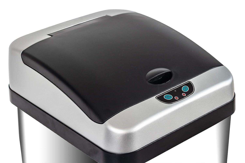 Acier Inoxydable Grandma Shark Poubelle Automatique de Cuisine Bac /à capteurs bac de Cuisine /à Technologie Infrarouge carr/é 58 litres