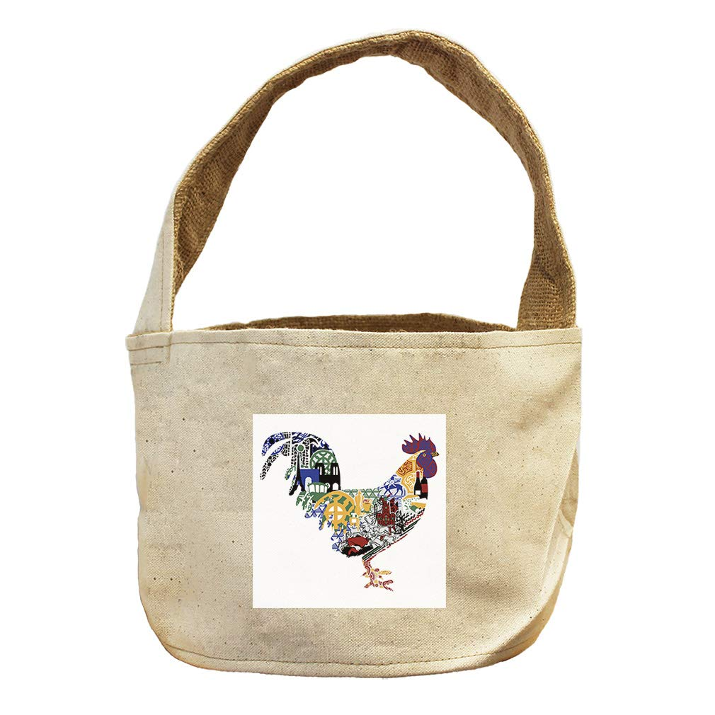 Rooster in Ornament Animals Canvas and Burlap Storage Basket