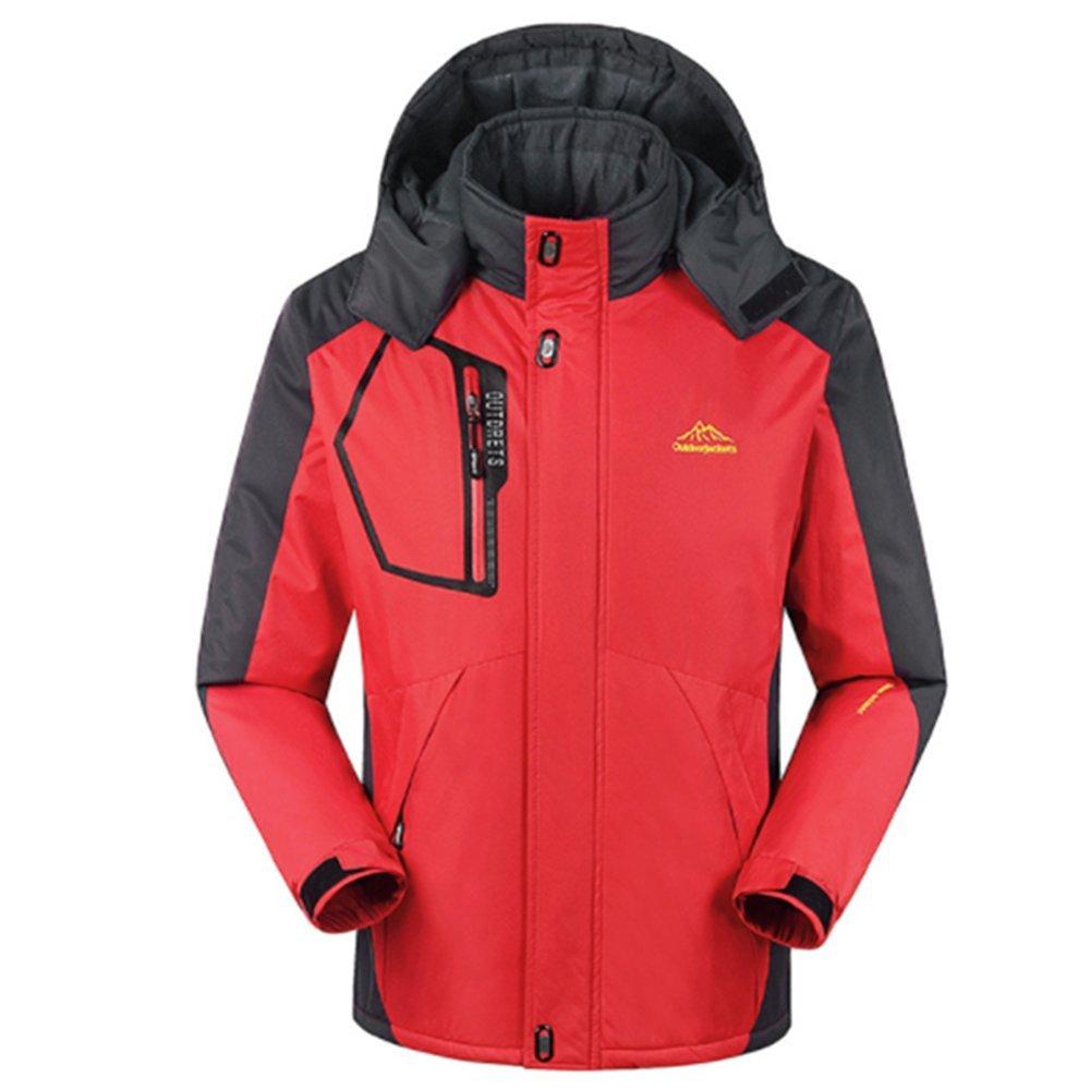 Yaheeda Men's Outdoor Waterproof Mountain Fleece Plus Size Ski Jacket Sportwear Casual Travel Rain Jackets (Red, Small)