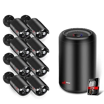 ANRAN 5MP CCTV PoE Kit Cámaras de Vigilancia Exterior 8CH Sistema Cámara de Seguridad PoE 1920P ...