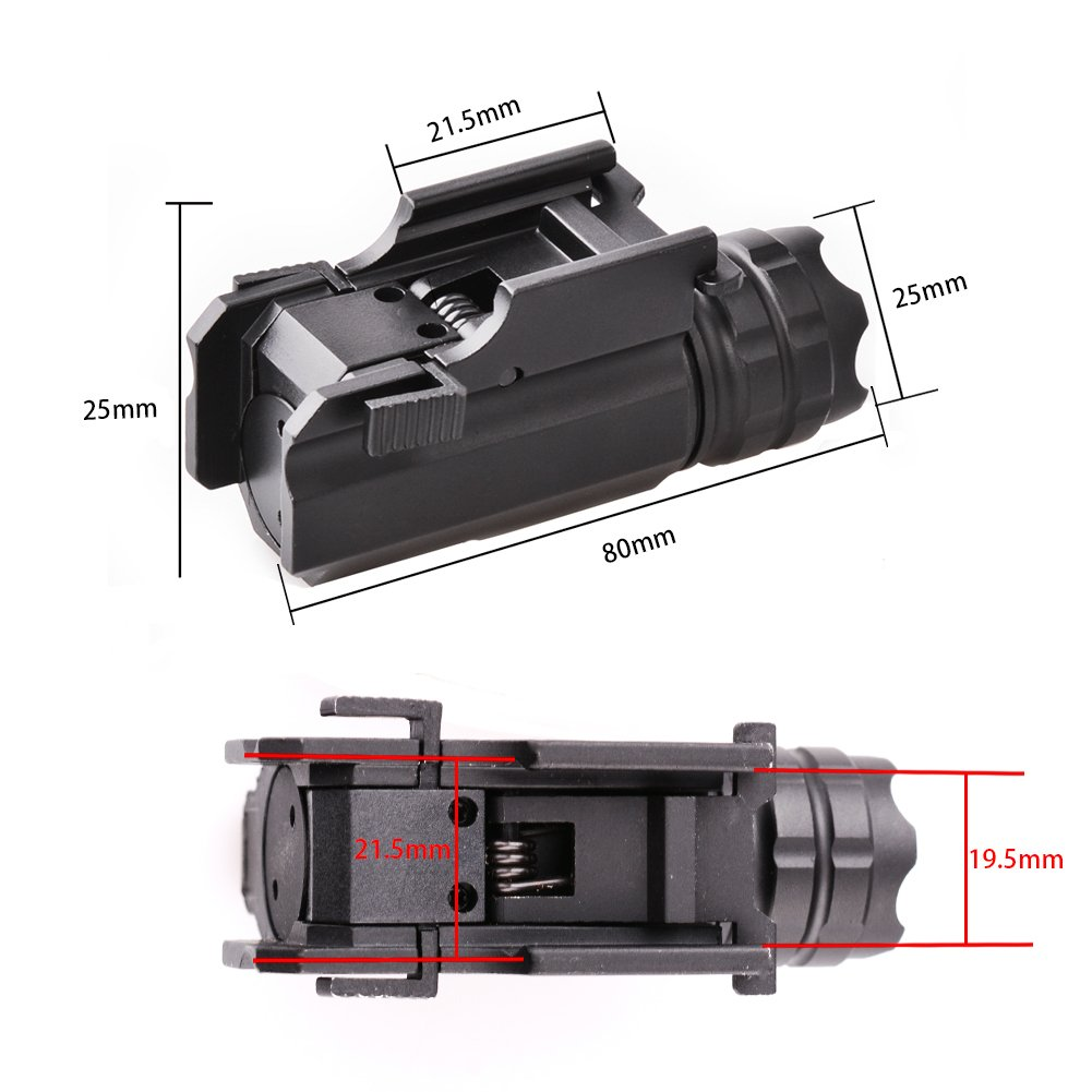 MCCC 230 Lumens LED Rail Mount Tactical Gun Flashlight Pistol Light with Strobe&Weaver Quick Release for Hunting, Black by MCCC (Image #5)