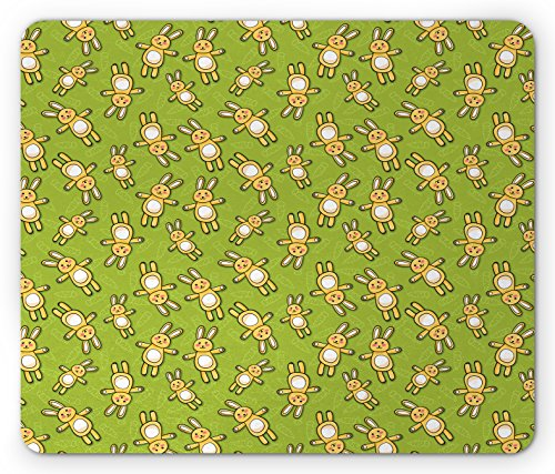 (Ambesonne Anime Mouse Pad, Kids Toy Rabbits Pattern on a Green Background with Doodle Carrots, Standard Size Rectangle Non-Slip Rubber Mousepad, Apple Green Yellow and White)