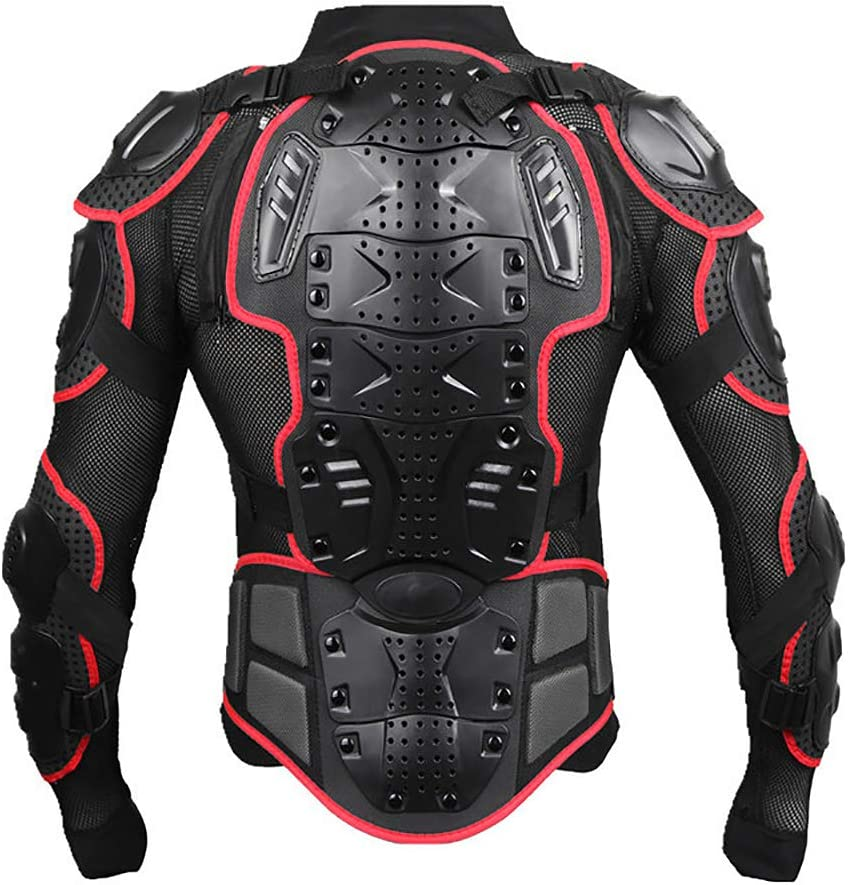 Motorcycle Motorbike Full Body Armor Armour Protective Gear Jacket Pro Street Sport Motocross ATV Guard MTB Racing Shirt Jacket Protector with Chest Back Protection for Men Black, XXXL