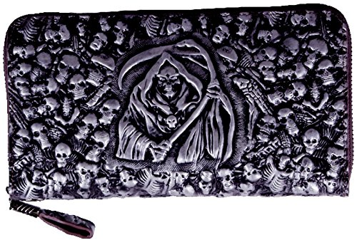 ABC STORY Mens Real Leather Gothic Grim Reaper Black Skull Evening Clutch Handbag Wristlets For Women by ABC STORY