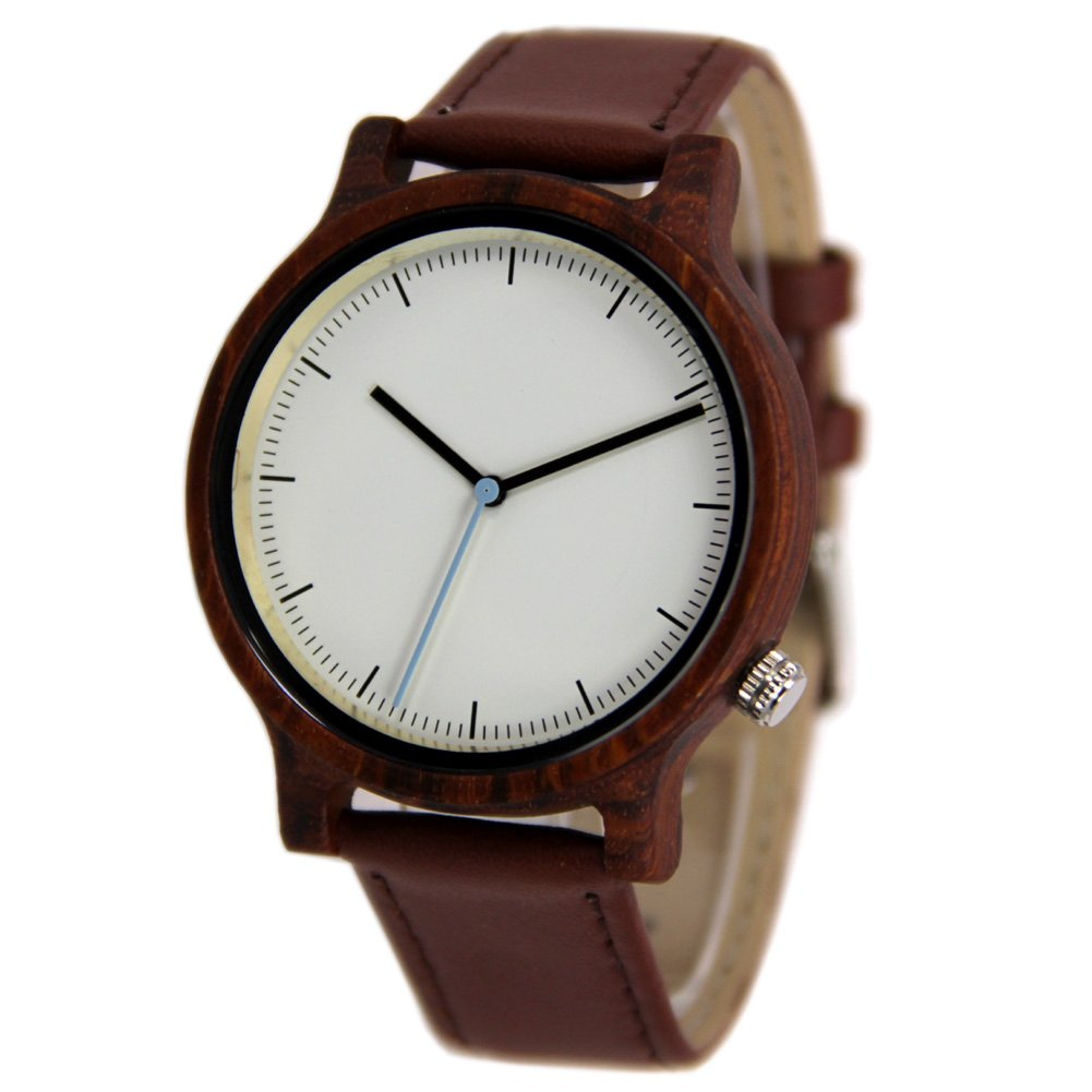 Unisex Big Dial Wood Watches with Genuine Leather Strap Gift Wristwatch