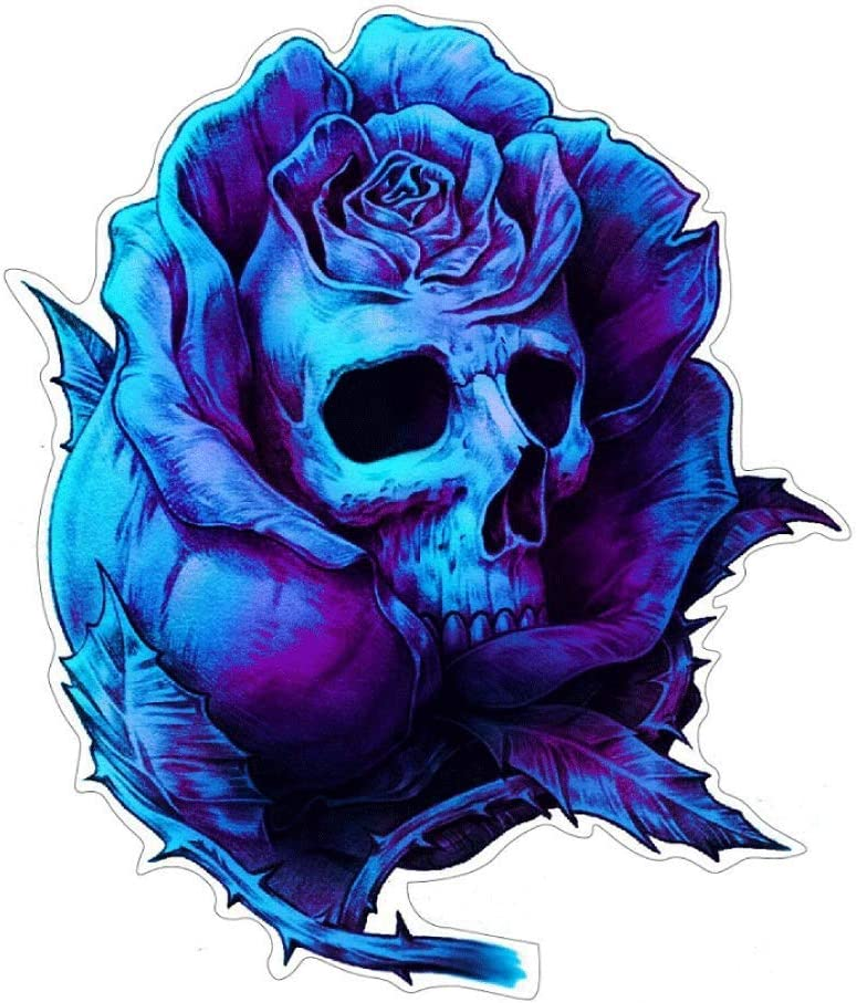 Stickerdealer Chupacabra Rose Skull Aufkleber Sticker Schädel Totenkopf Blumen Ca 12x10 Cm Auto