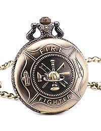 Fire Fighters Sounenirs Vintage Retro Bronze Copper Quartz Pocket Watch Pendant Chain Clock Gift